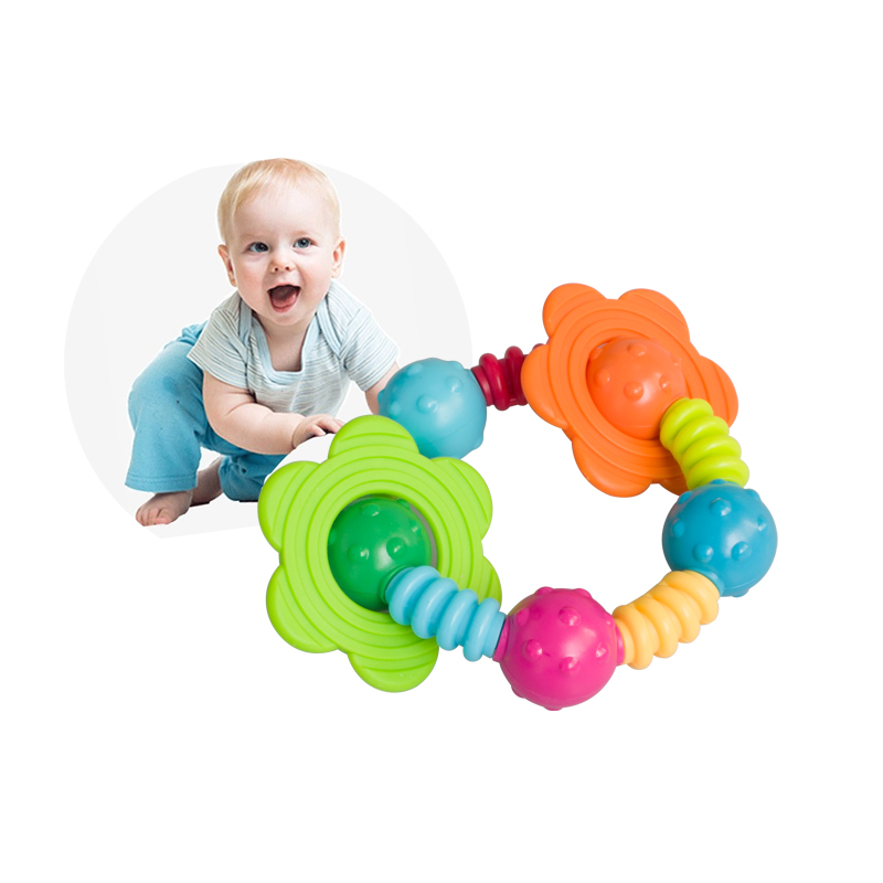 New lovely infant educational toy plastic baby toy hand shake bell ring baby rattle